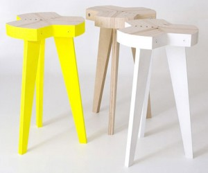 Offset Stools: Bent Plywood Chairs
