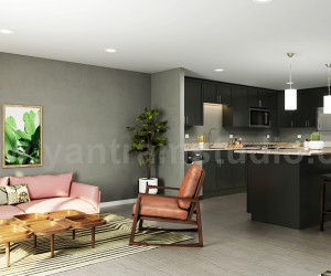 Open Concept Kitchen Living Room 3D Interior Modeling Ideas Developed By Yantram Architectural Animation Companies, Doha - Qatar