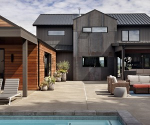 Open Floor Plan Home Featuring a Natural Palette of Steel, Concrete and Walnut
