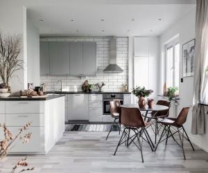 Open plan scandinavian apartament design