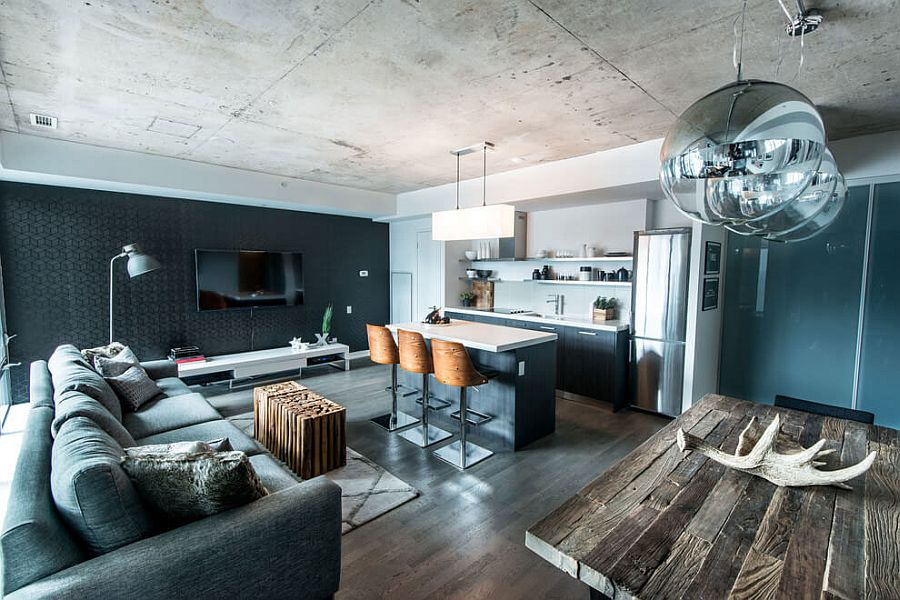 Organic Elements And Shades Of Gray Define Industrial Loft In Toronto