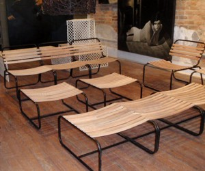 Outdoor Wood Slat Seating at HudsonGoods.com