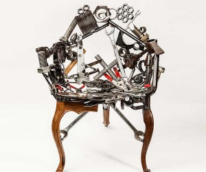Outra Oficina unveils masculine furniture made from mechanical tools