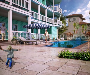 Outside Pool View Design Ideas by 3D Architectural Visualization - California, USA