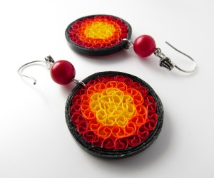 Paper jewelry  Lava rings paper quilled earrings  First anniversary gift  Handmade colourful eco chic jewellery