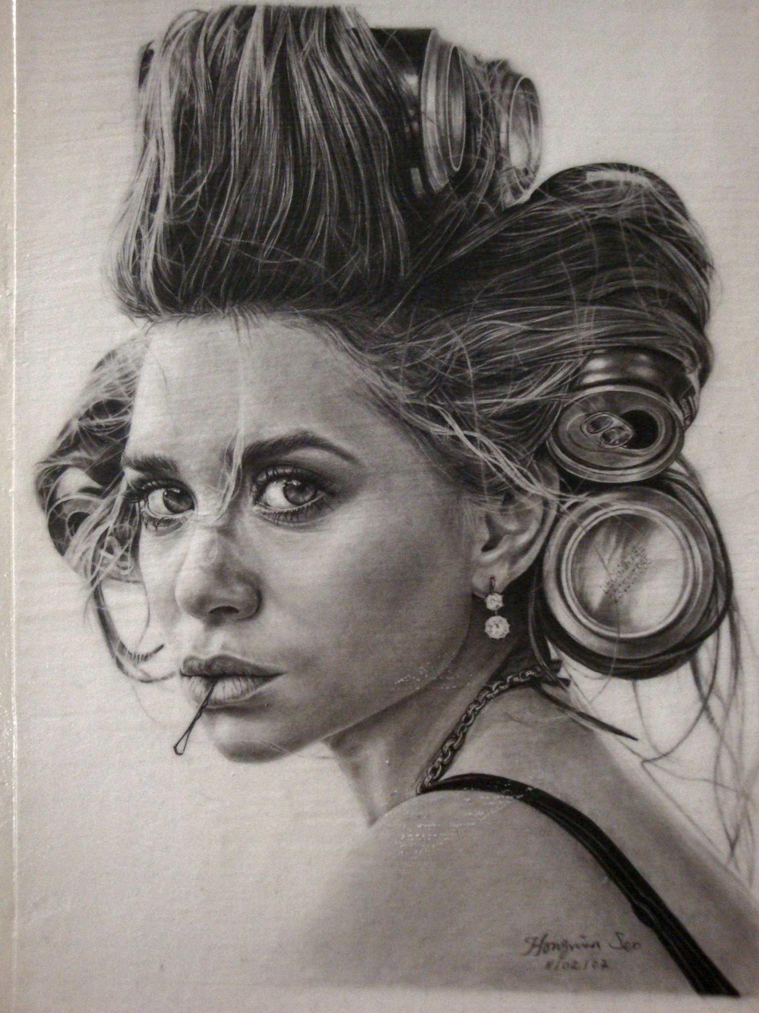 Pencil black and white celebrities portraits by michelle seo