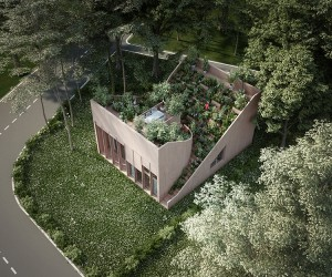 Penda Designs Yin  Yang House With Cultivated Roof Garden