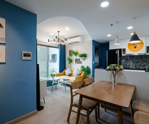 Perfect Apartment in Blue, Yellow and White: Cheerful and Space-Savvy Design