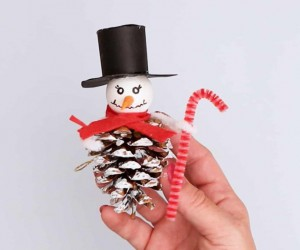 Pinecone Snowman Ornament For Christmas Tree