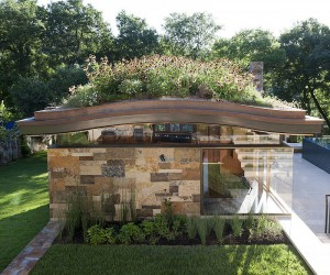 Pool House with a Curved Living Roof Makes a Bold Green Statement