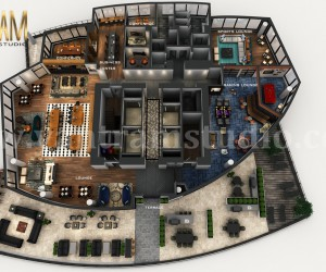 Professional 3D combined Commercial Office  Residential Floor Plan Design by Architectural Studio