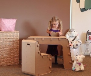 Recycled Cardboard Imagination Desk and Chair: Let Your Kids Creativity Take Over