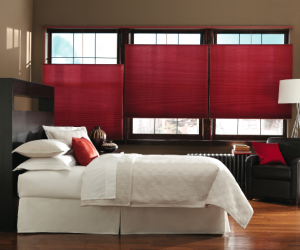 Red Master Bedroom Cell Shades from Blindsgalore.com