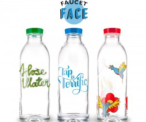 Reusable Glass Bottles That Give Back by Faucet Face.