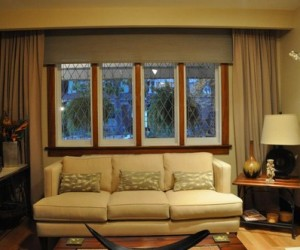 Roller Blinds with Side Panels by Night and Day Window Decor
