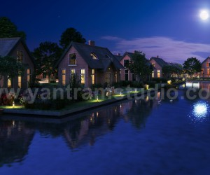 Romantic Night View of Waterside Villa 3D Exterior Modelling By Yantram Architectural Design Studio, Sydney-Australia