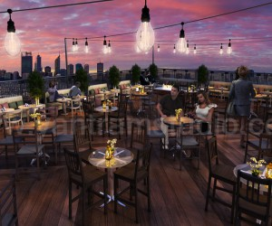 Rooftop Layout Lounge 3D Rendering Evening View by Yantram architectural studio Virginia, USA
