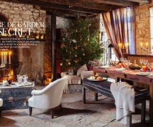 Rustic French Manor Decorated for Christmas