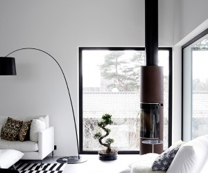Scandinavian home in black and white