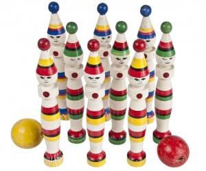 Set Of Eight Vintage French Vilac Skittles With Balls