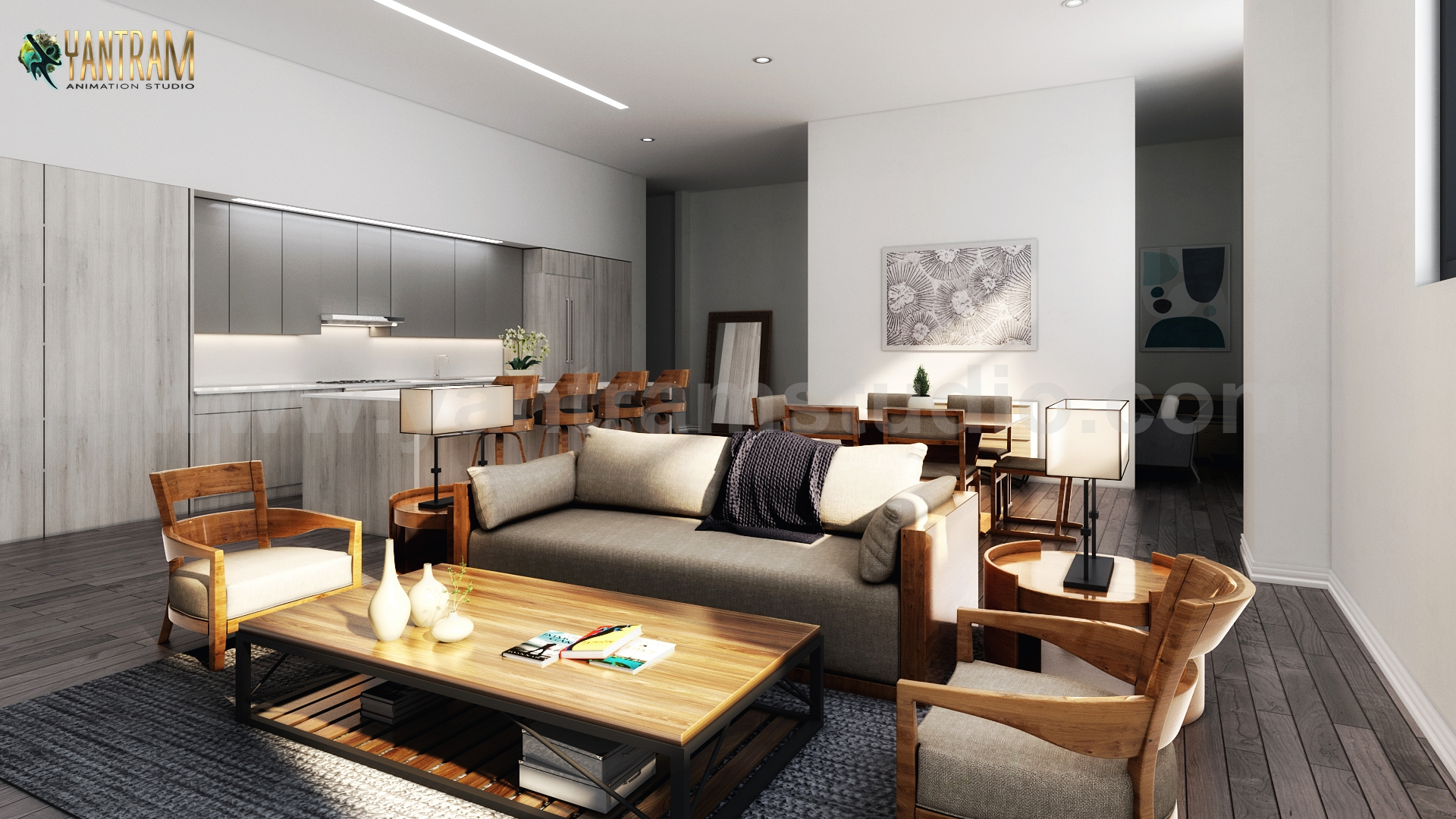 Several 3D Interior Modeling for a Modern Living Kitchen Dining ...
