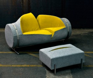 Slashed Sofa and Ottoman