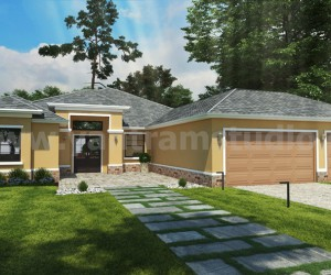 Small House Design Ideas Front Rendering by Yantram architectural visualization company Atlanta