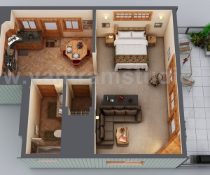 Small House Floor Plan Design Ideas by Yantram 3D Floor Design, Chicago - USA