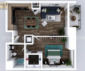 Small New Style One Bedroom Apartment floor plan design company by Architectural Animation Services, Dallas  USA