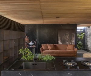 Sophisticated Brazilian Home in Stone and Wood: Meia Casa