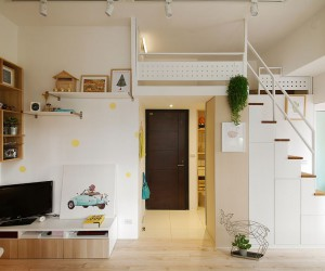 Space-Savvy Urban Apartment Designed for a Couple and their Cat