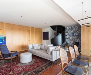 Spiral Staircase and Fun Accent Wall Steal the Show at Collectors Apartment