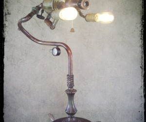 Vintage Steampunk Torch Table Lamp