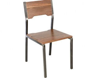 Steel and Walnut Wood Chair