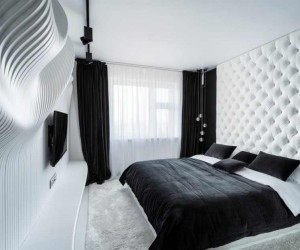Straight Forward Bedroom Design in BlackWhite by Geometrix