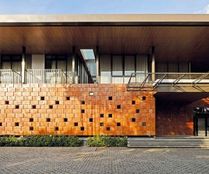 Striking Terracotta Faade Welcomes You at the Energy Efficient Akanaka