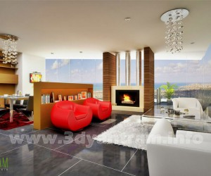 Stunning 3D Living Room Design View