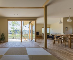 Stylish Synergy: Modern Japanese Home with a View of Distant Mountains