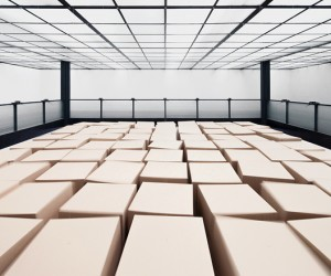 Suspended Cardboard Boxes Installation by Zimoun  Hannes Zweifel