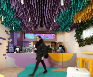 Tealive Bubble Tea Shop with a Striking Ceiling Installation