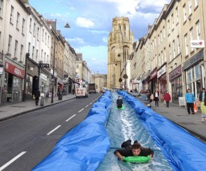 Temporary Water Slide in Bristol by Luke Jerram