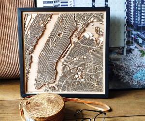 These Stunning Custom Wood Maps Look Like Modern Abstract Art