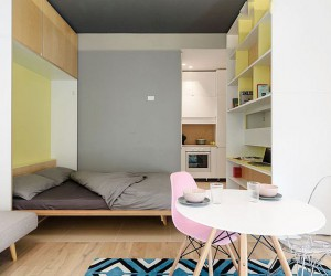 This 30 Square Meter Micro-Apartment has a Moving, Multi-Functional Wall