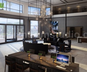 Three Star Hotel Lobby - Waiting Area design by Yantram 3d interior modeling Brisbane, Australia