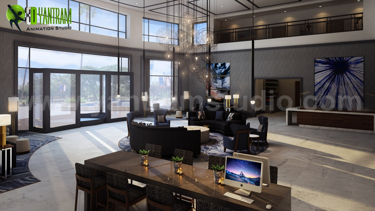 three star hotel lobby waiting area design by yantram 3d interior modeling brisbane australia - 3d Interior Modeling