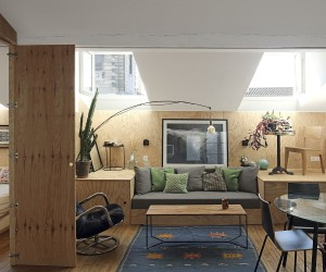 Tiny Apartment with an Innovative Wooden Platform that Morphs into Dcor