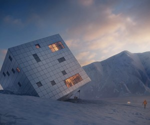 Titled Cube Mountain Hut in Slovakia