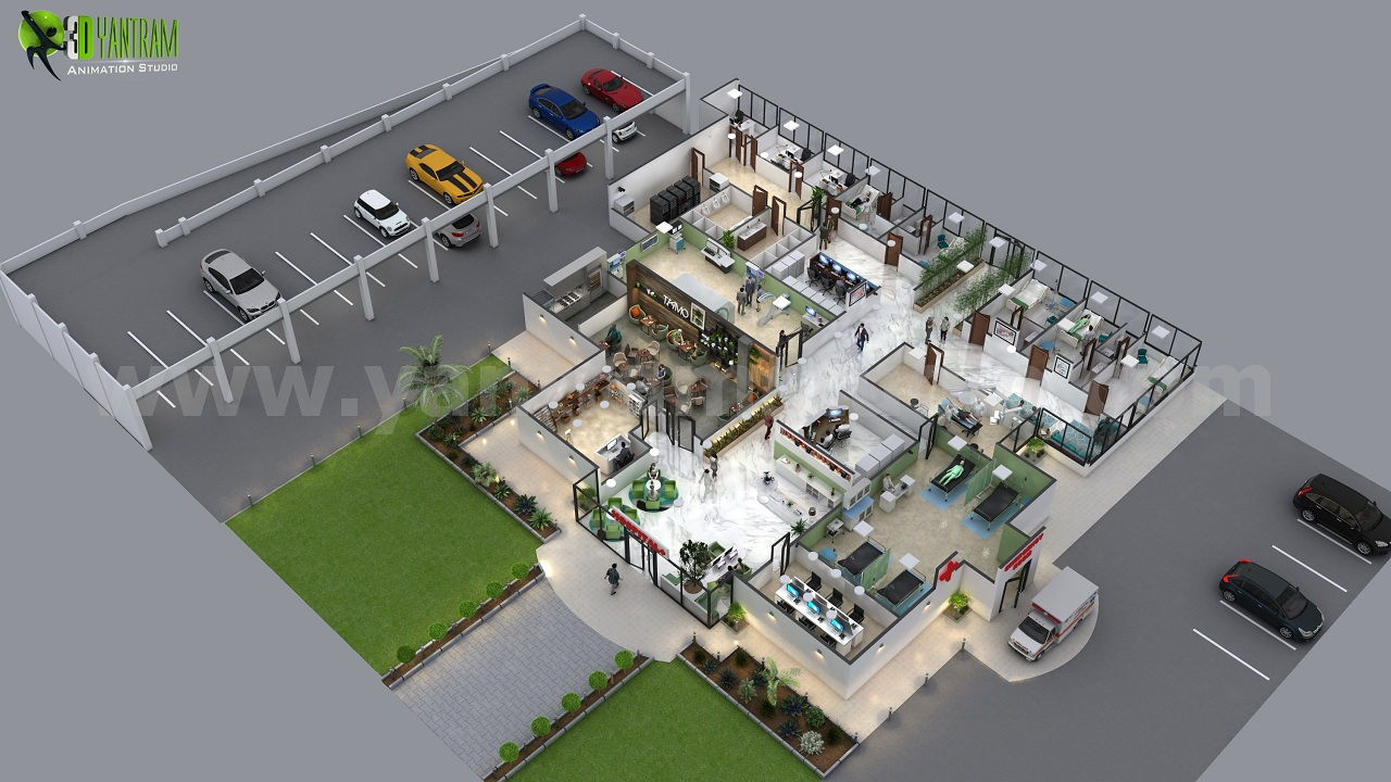 Traditional hospital 3d floor plan design ideas by yantram for 3d floor design software