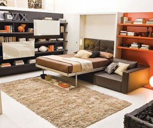 Transformable Murphy Bed Over Sofa Systems