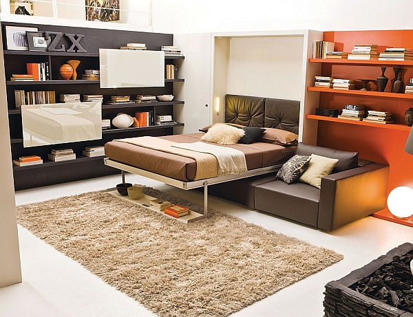 transformable murphy bed over sofa systems. Black Bedroom Furniture Sets. Home Design Ideas